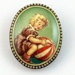 Russian Handpainted Child with Ball