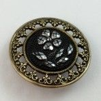 Faux Sequined Flower Black Glass in Metal