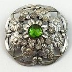 Silvered Floral Jewel with Pastes