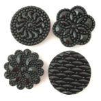 Molded Black Glass Designs Quartet