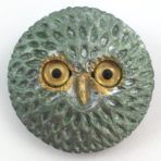 Feathered Owl Face with Glass Eyes